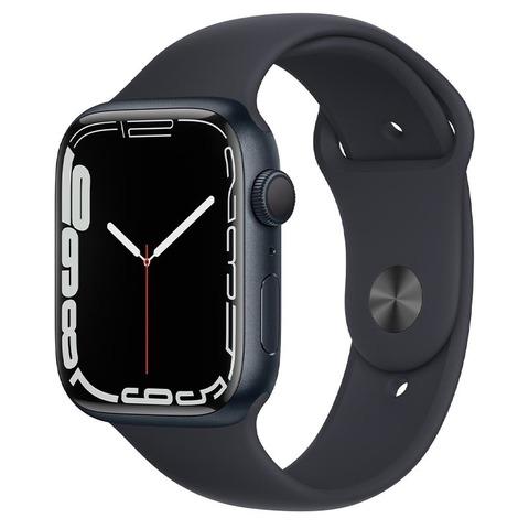 Apple Watch Series 7, GPS, 45 мм, корпус из алюминия цвета «тёмная ночь», спортивный ремешок «тёмная ночь»