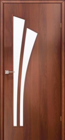 Дверь Фрегат ПО-011 Пальма, матовое, цвет итальянский орех, остекленная
