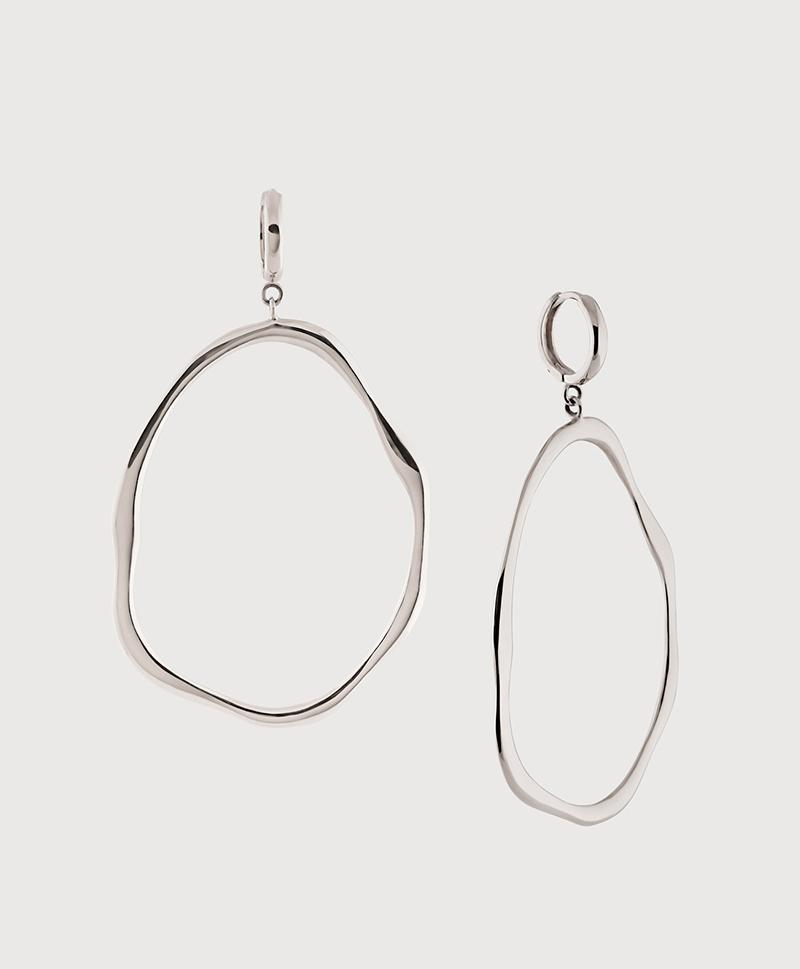Серебряные серьги-кольца водоросли