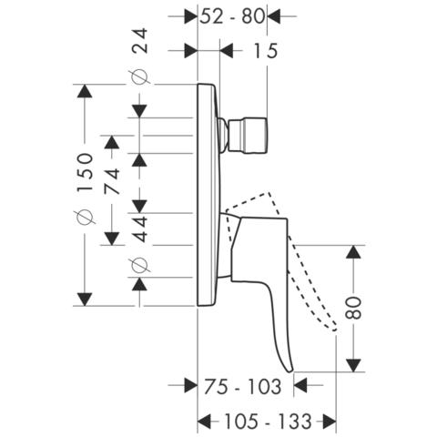 Смеситель для ванны встроенный Hansgrohe Metris 31493000 схема