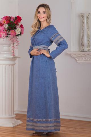 Платье в русском стиле льняное Льняной дождь