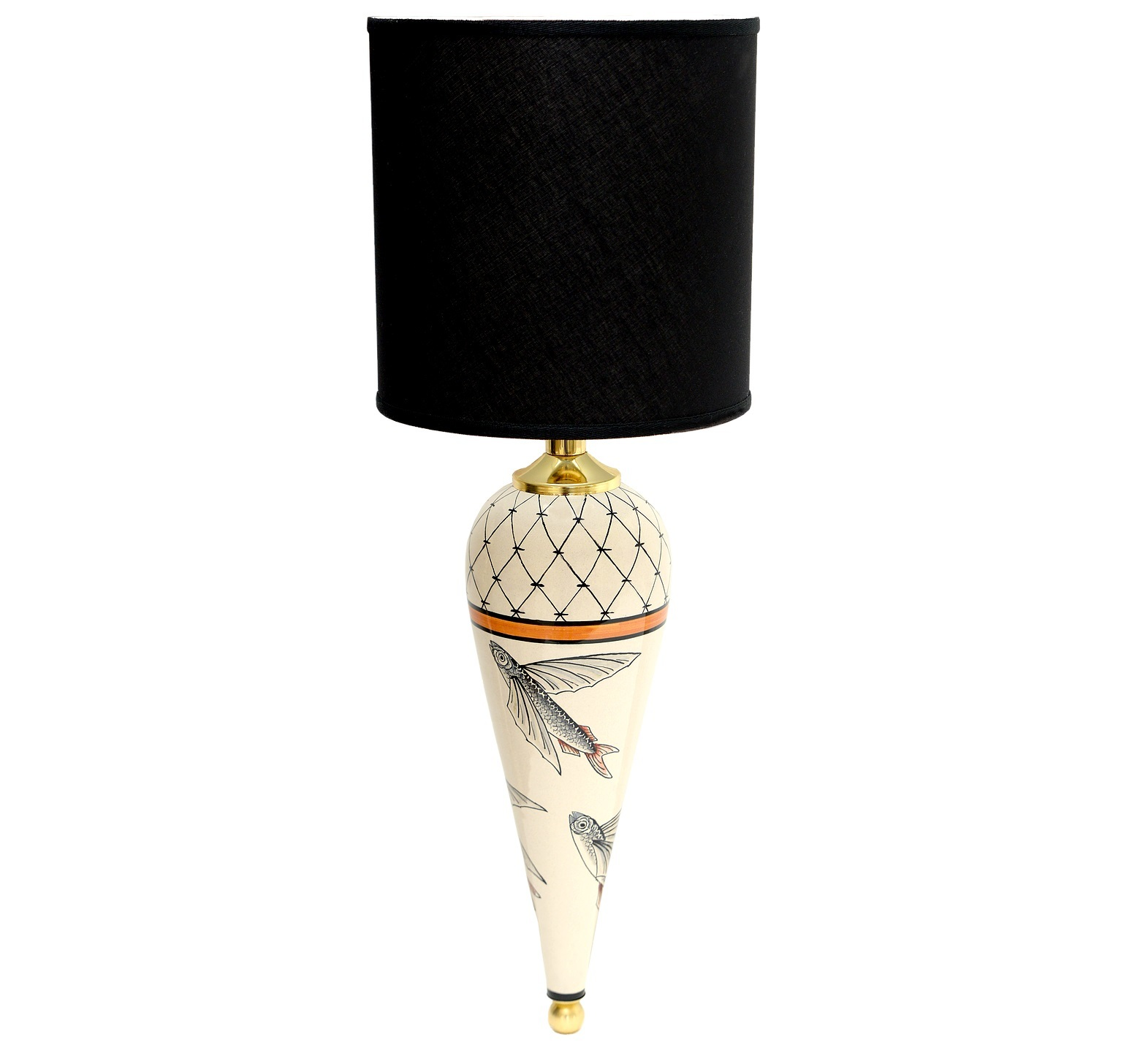 Ceramic wall lamp with black shade Flying Fish collection