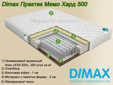 Матрас Димакс Практик Мемо Хард 500 на Мегаполис-матрас