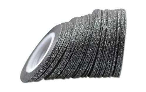 Лента самоклеющаяся черный глиттер 1мм