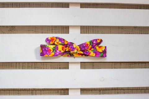 Повязка на голову (солоха) фиолетовая с желто-красными цветами