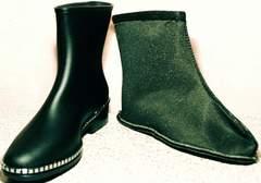Сапоги женские резиновые утепленные низкие Hello Rain Story 1019 Black.