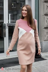Платье для беременных и кормящих color-block из трикотажа с начесом
