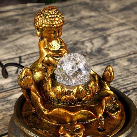 Фонтан настольный от сети свет Маленький будда у лотоса, 20,5х16х16 см