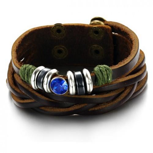 Кожаный браслет унисекс 2 в 1 косичка с шармами и искуственным синим камнем Steelman mn00377