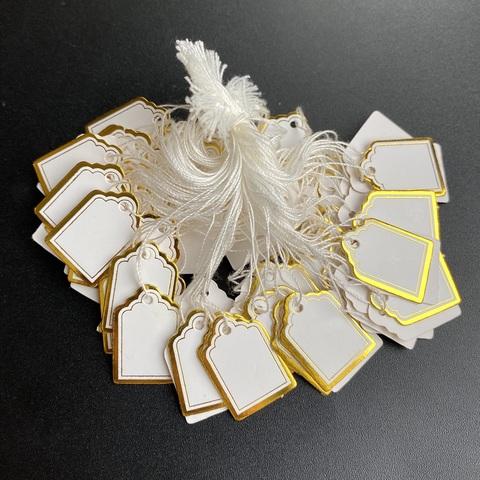 Бирки для изделий с золотой окантовкой 100 штук