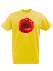 Футболка с принтом Цветы (Маки) желтая 001