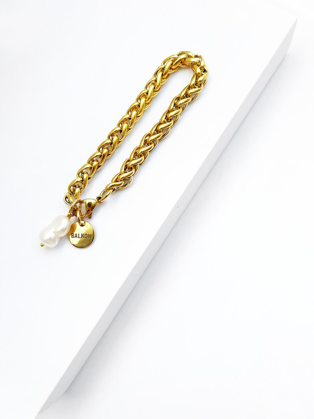 Браслет колоскового плетения / gold tone /
