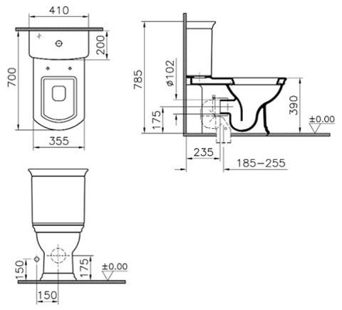 Унитаз напольный с бачком  Vitra Serenada, сиденье микролифт, функция биде, механизм смыва Geberit схема
