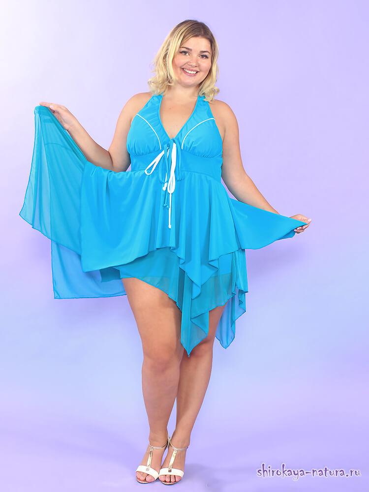 Купальное платье с шортиками Голубая лагуна