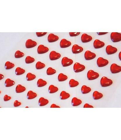 Стразы самоклеющиеся сердечки разного размера 78 шт красные