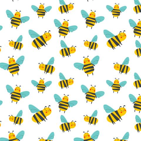 Детский паттерн с милыми пчелами или осами на белом фоне