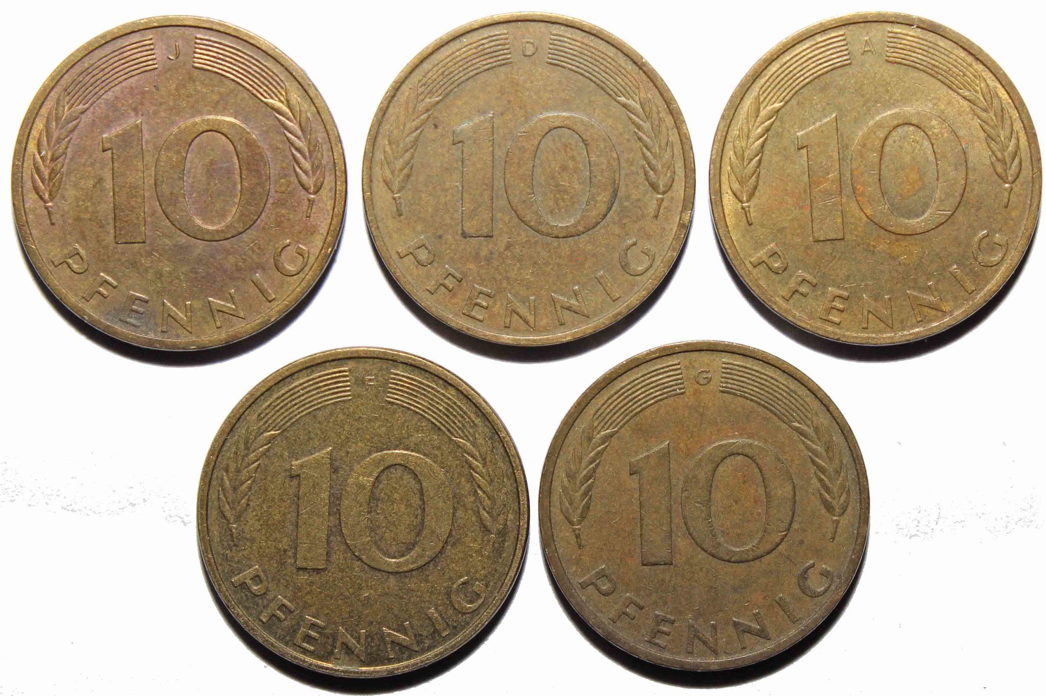 Набор из 5 монет 10 пфеннигов Германия ФРГ. VF-XF