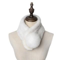 Вязаный шарф-воротник норковый (меховой) белый