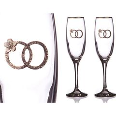 Набор бокалов для шампанского с золотой каймой, 170 мл, 2 шт., фото 1