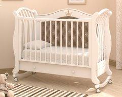 Кровать детская Габриэлла Люкс Плюс колесо-качалка, ящик белый