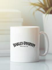 Кружка с рисунком Harley-Davidson (Харли-Дэвидсон) белая 002