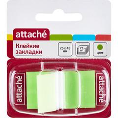 Клейкие закладки Attache пластиковые зеленые 25 листов 25х45 мм в диспенсере