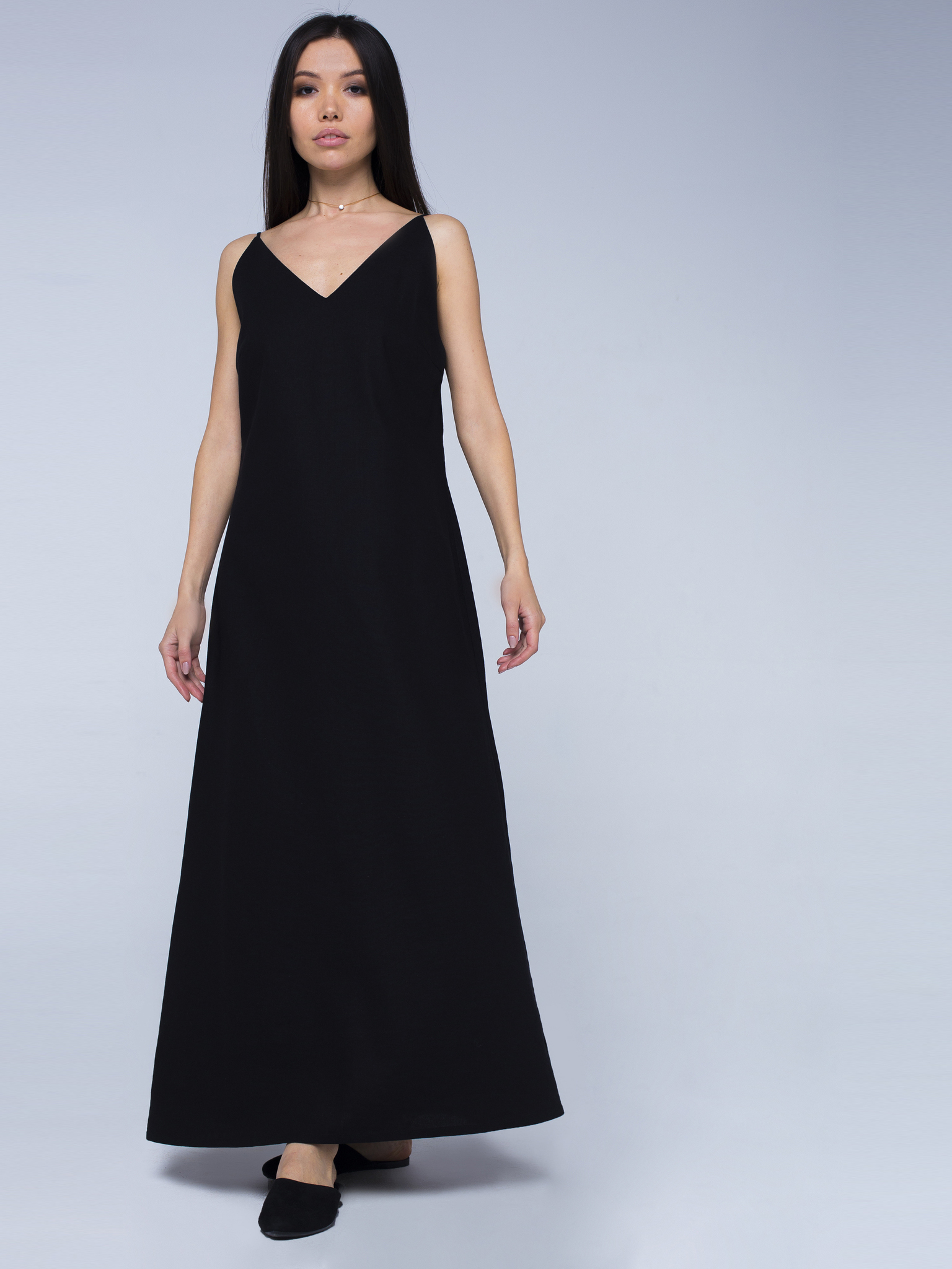 Платье черное льняное с открытой спинкой макси