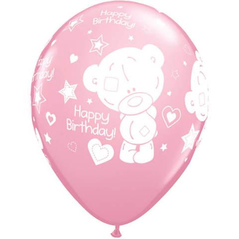 Шары с днём рождения Тедди розовые