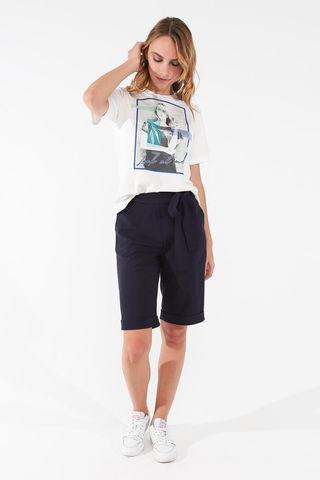 Фото шорты классические темно-синие с карманами и поясом - Брюки А502-549 (1)