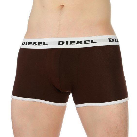 Мужские трусы боксеры коричневые с белой резинкой Diesel