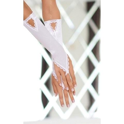 Сатиновые перчатки с кристалликами белые