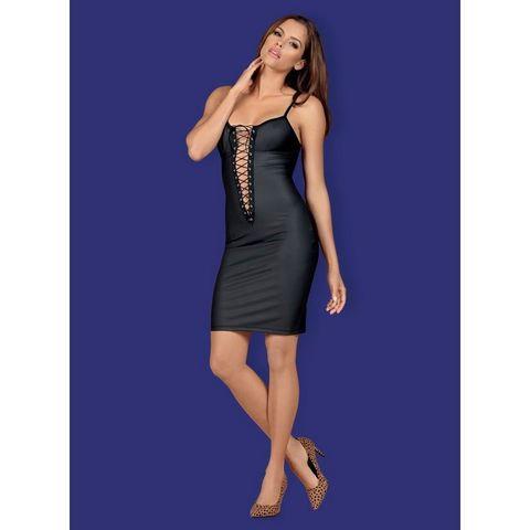 Кожаное платье со шнуровкой Redella черное