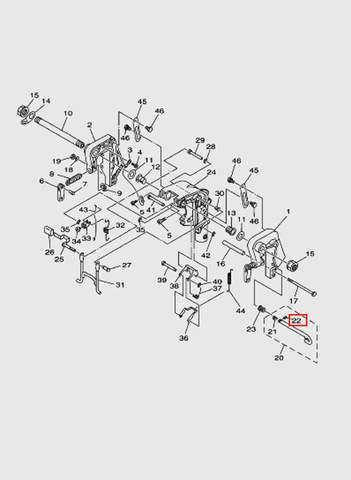 Штифт кронштейна лодочного мотора T15, OTH 9,9 SEA-PRO (13-22)