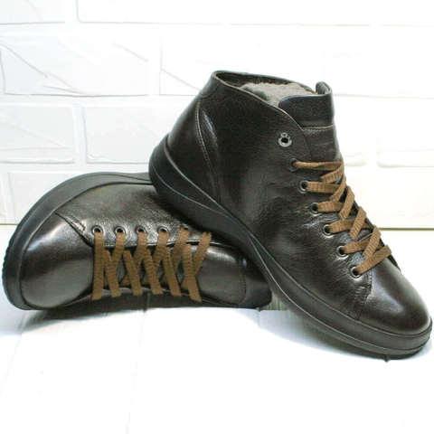 Демисезонные ботинки кроссовки мужские. Сникерсы кеды кожаные Ikoc5B-Brown.