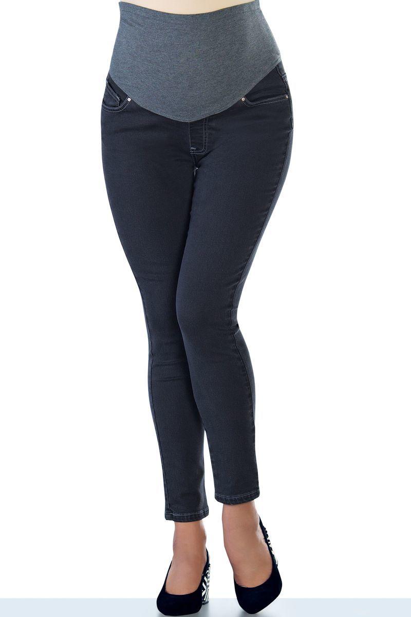 Фото джинсы для беременных EBRU, зауженные, трикотажная вставка от магазина СкороМама, серый, размеры.