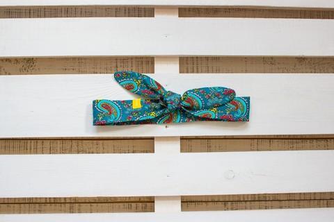 Повязка на голову (солоха) синяя с бирюзовым пейсли