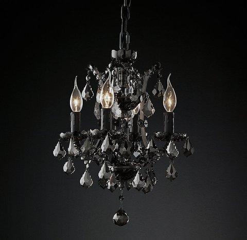 Подвесной светильник копия 19th C. Rococo Iron & Smoke Crystal Round Chandelier 13