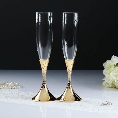 Набор свадебных бокалов с кристаллами сваровски, золото, 27,4 см