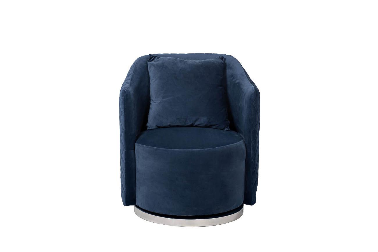 Кресло вращающееся темно-синее велюровое (48MY-2573 DBL) Garda Decor