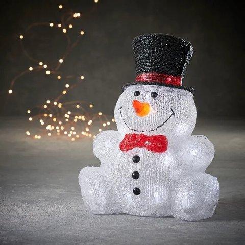 Снеговик сидячий в шляпе для наружного и внутреннего использования