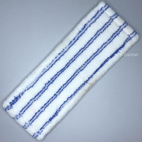 Моп для швабры из гладкой микрофибры 43х13 см белый с синими вставками