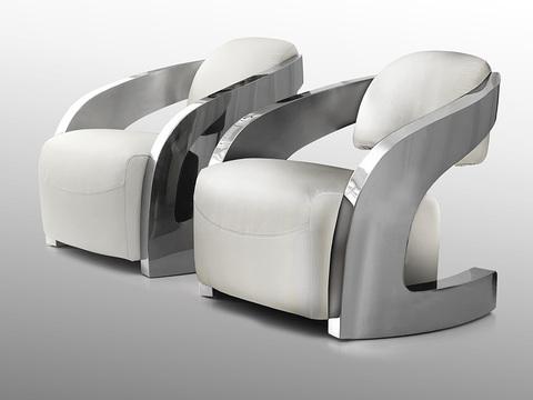 Кожаное кресло Amanda белый/сталь