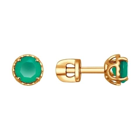 724198-Серьги-пусеты из золота с зелёными агатами