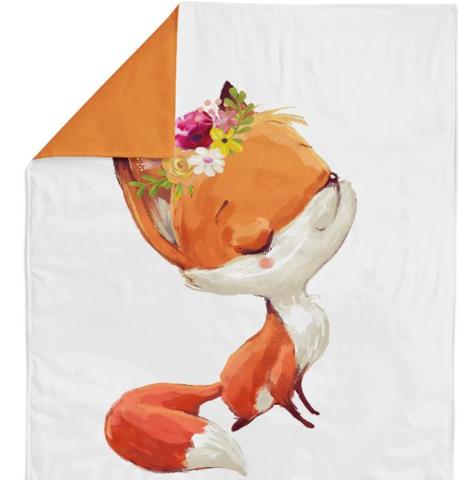 Панель(купон) лисичка с цветами на голове-75*100 см(Турция)