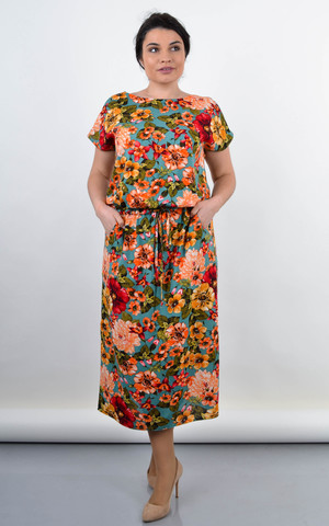 Мрія. Яскрава сукня великих розмірів. Квіти на бірюзі.