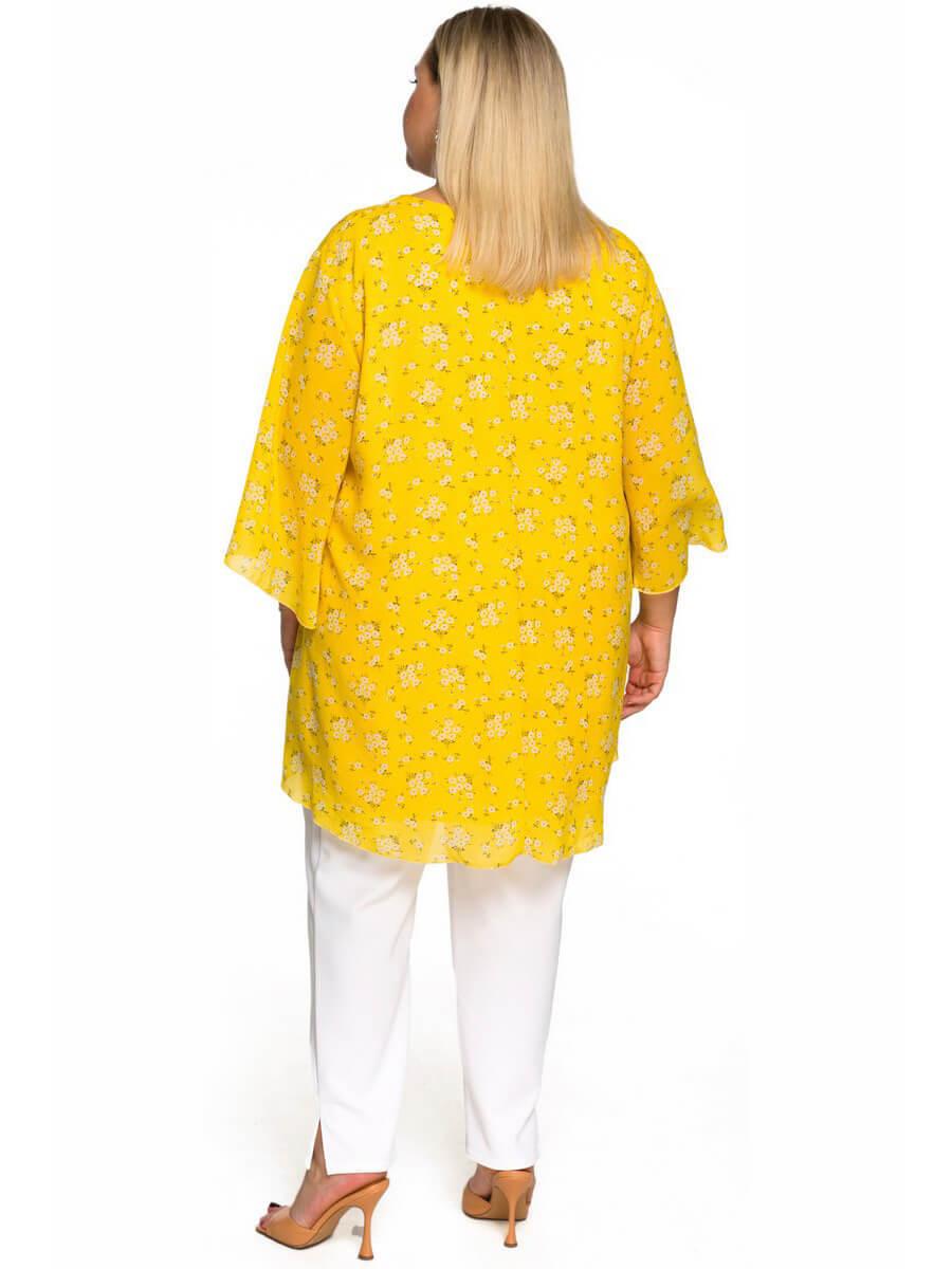 Туника асимметричная, шифон нежно-жёлтый