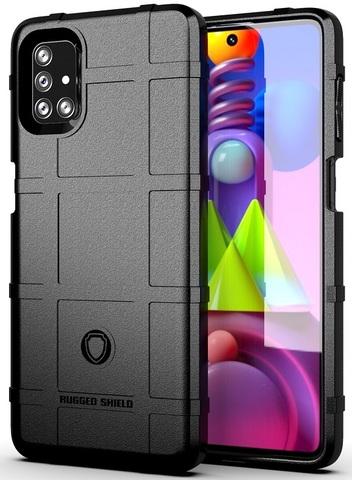 Ударопрочный чехол черного цвета на Samsung Galaxy M51, серия Armor от Caseport