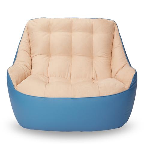 Бескаркасный диван «Босс», Синий и бежевый