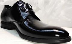 Мужские свадебные туфли на шнурках лаковые Ikoc 2118-6 Patent Black Leather