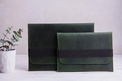 Зеленый горизонтальный кожаный чехол Gmakin для MacBook